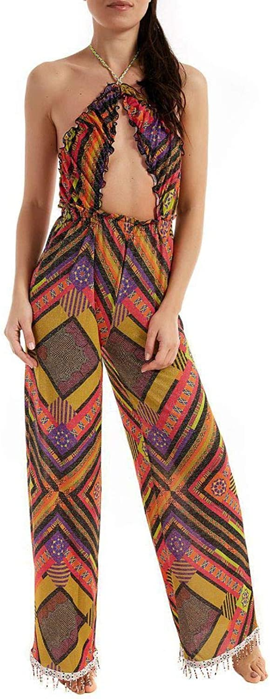 FK Women's N567X2FUCSIA Multicolor Polyester Jumpsuit