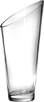 """Barski Glass - Handmade - 12"""" H - (12 inches High) - Slant Vase - Clear - Made in Europe"""
