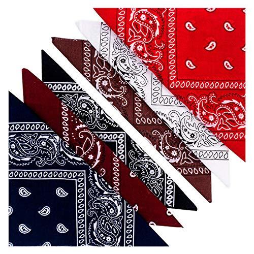 KEVOLLA BANDANA Herren Nickitücher Baumwolle Set Bandana Halstuch Herren Baumwolle 6 Pack Bandanas Männer Tuch 55 x 55 cm in 6 tollen Farben