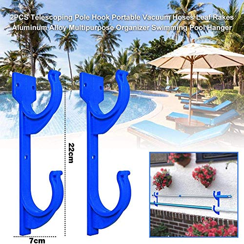 LXDDP Swimming Pool Aluminum Pole Hanger Set for Telescoping Poles, Leaf Rakes, Skimmers, Nets, Brushes, Vacuum Hoses Storage Hooks, Wall Mounted Brackets for Workshops, Garages Sheds