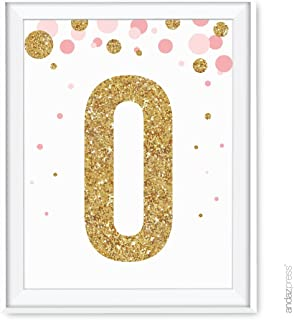 Andaz Press Nursery Wall Art Decor, Pink and Printed Gold Glitter, Letter O, 8.5x11-inch, 1-Pack, Unframed Prints Poster