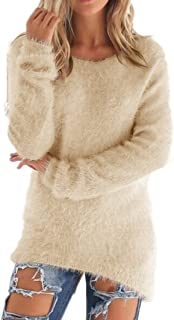 Women's Casual Knit Pullover Loose Fluffy Fuzzy Jumper Sweater