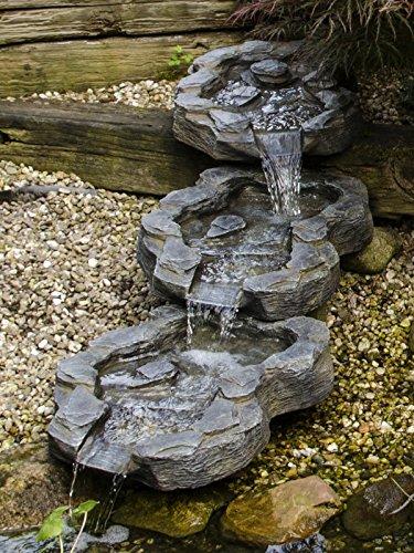 Köhko 140016 , Curso de arroyos de 3 partes El estuario del Elba en aspecto de piedra natural, Extensión de cascada aproximadamente 140 cm x 40 cm, 1 litro, gris