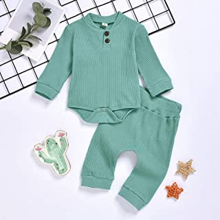 TZOU Knitted Romper Suits Long Sleeves Jumpsuit and Elastic Waist Pants for Boys and Girls Ultramarine 80cm