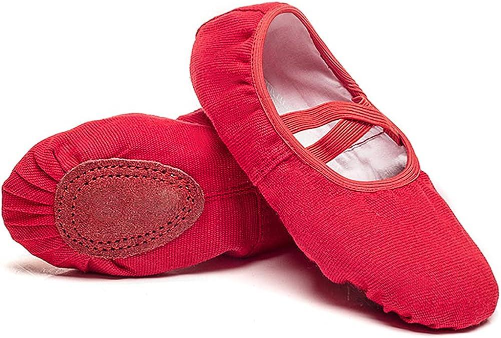 Cenim Girls Ballet Practice Shoes Canvas Dance Shoes for Women Gymnastics Flats Split Leather Soles Dance Shoes