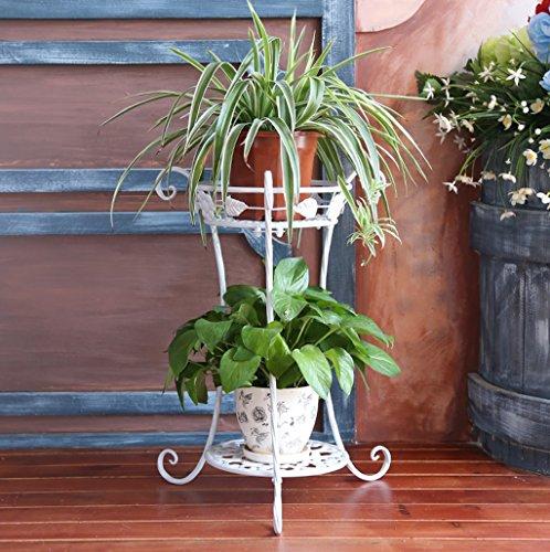 Porte-fleurs en métal Présentoir d'usine Salon à plusieurs étages Balcon Auvent en pot à fleurs (Couleur : Blanc, taille : 50 * 38CM)