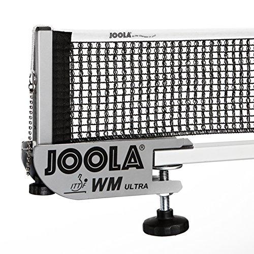 JOOLA Tischtennisnetz WM Ultra-Indoor Garnitur ITTF Zulassung für Wettkämpfe - Höhenverstellbar mit Feststellschraube, Silber, 183 CM x 15,25 CM