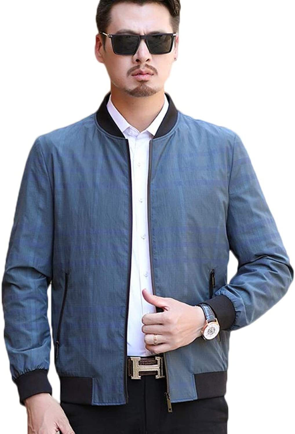 Men's Softshell Jacket Bomber Jacket Zipper Coat Spring and Autumn Coat (color   bluee 2, Size   S)