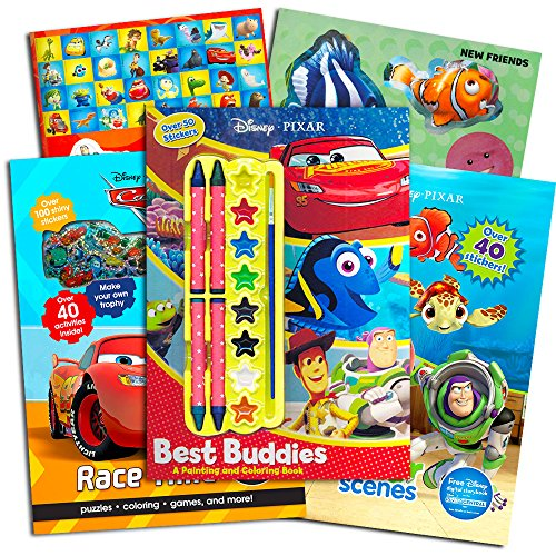 Disney Pixar Coloring Book Super Set ~ 3 Pixar Activity Books with Stickers and Crayons (Featuring Toy Story, Finding Nemo and More)