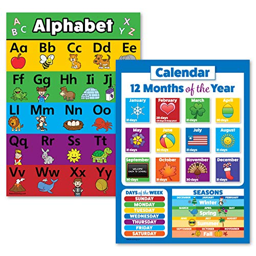 """2 Pack - ABC Alphabet & Months of The Year/Days of The Week Poster Set (Laminated, 18"""" x 24"""")"""