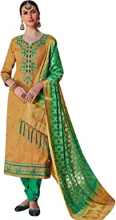 Ready to Wear Cotton Embroidered Salwar Kameez with Banarsi Chiffon Dupatta Indian Pakistani Bollywood Dress