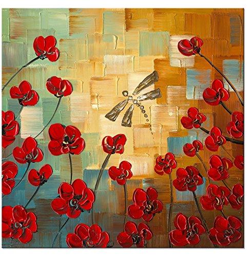 Wieco Art Libellula, Motivo Moderno con Fiori e Disegni 100%, Dipinto a Mano, Floral Oil Paintings-Stampa da Parete su Tela, con Stampa di Arte 1070-1 FL-UK