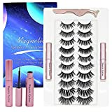 Magnetic eyelashes with eyeliner, 10 pairs of reusable fake magnetic Eyeliner and Lashes Kit mink, tweezers and eyeliner Set no glue needed
