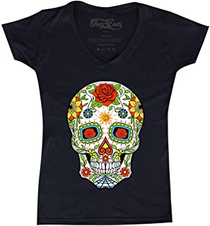 Day of The Dead Skull with Red Roses Women's V-Neck T-Shirt Slim Fit