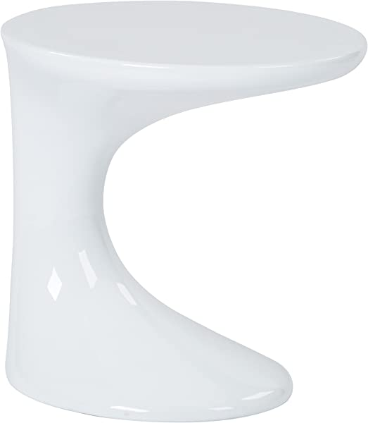 AVE SIX Slick High Gloss Finish Side Occasional Table White