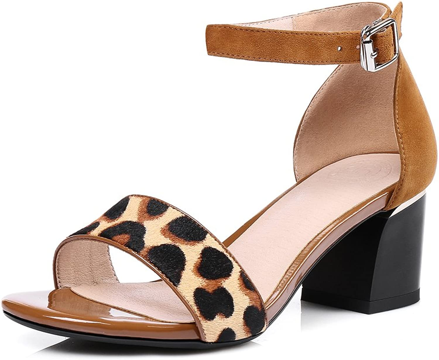 MINIVOG Women Open Toe Ankle Strap Suede Leather Thick High Heels Sandals