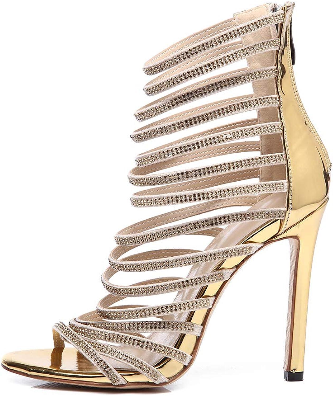 Women's Sandals, Hot Diamond Crystal High Heel Women's Sandals Open Toe Non-Slip Breathable Lining Women's High Heel Sandals