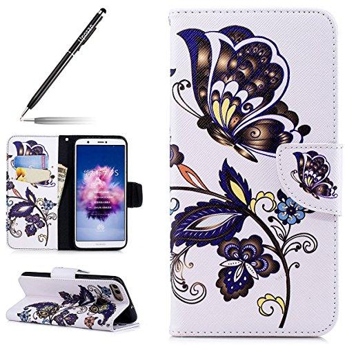 Uposao Kompatibel mit Handyhülle Huawei P Smart Handytasche Retro Muster Leder Flip Case Cover Tasche Ledertasche Lederhülle Bookstyle Klapphülle mit Kartenfach Magnetverschluss,Blau Blumen