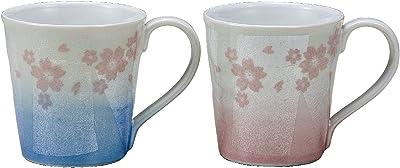 マルヨネ 九谷焼 ペアマグカップ・銀彩さくら K5-930