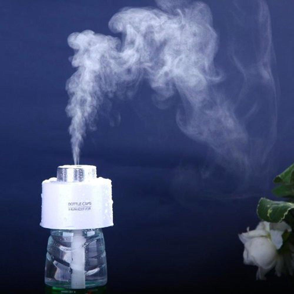 Angelbubbles Profesional humidificador Nivel 5 um MEJORADO atomizado partículas USB mini botella de agua portátil Caps humidificador de aire Difusor Aroma humidificador ultrasónico del purificador del aire del difusor (Blanco): Amazon.es: Hogar
