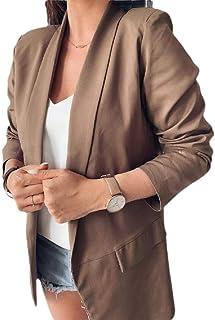 FSSE Womens Casual Solid Color Slim Fit Blazer Pockets Lapel Work Dress Blazer Jacket Suit Coat