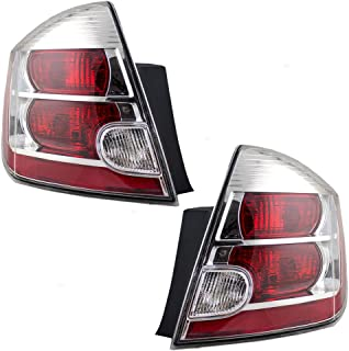 Driver and Passenger Taillights Tail Lamps with Chrome Bezels Replacement for 2007-2009 Nissan Sentra 26555ET00B 26550ET00B AutoAndArt