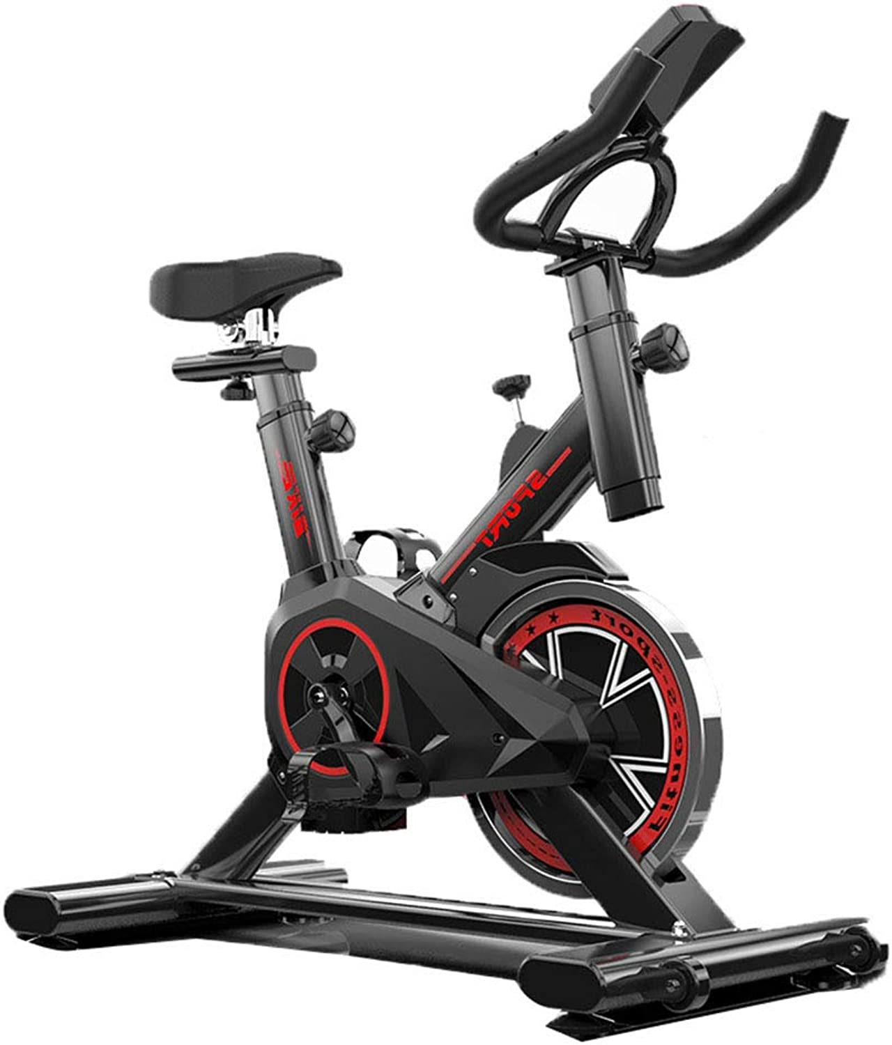 Indoor Exercise Bike, Cardio Workout Smooth Cycling, Adjustable Handlebars Seat, Heart Rate Sensors and On Board Computer Reads