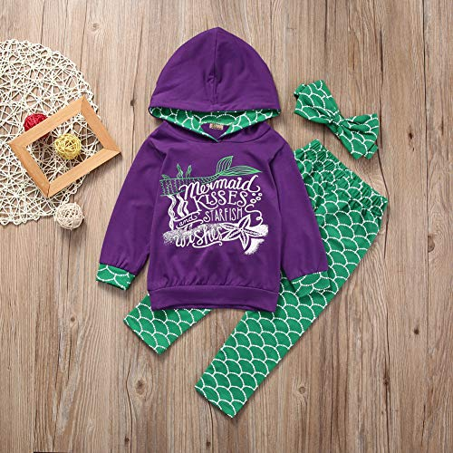 Gogoboi 3pcs Mermaid Outfit Set Long Sleeve Hoodie Top+Pants+Headband Suit For Baby Girl 1-6T (Purple, 5-6T)