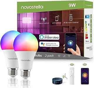 9W Bombilla Inteligente WiFi E27, Novostella 900LM LED Lámpara Multicolor con Control Remoto, Regulable RGB+Blanco Luz Puro(2700K-6500K), Intensidad Ajustable Funciona con Alexa, Google
