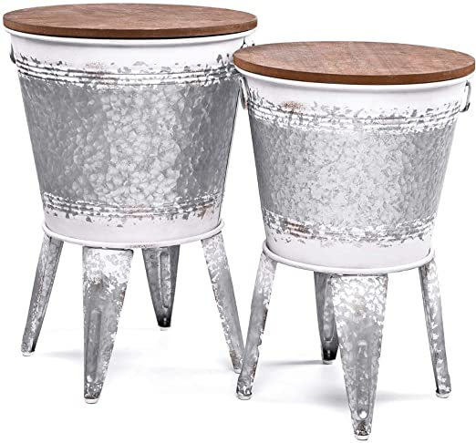 Farmhouse Accent Side Table - Galvanized Rustic End Table. Metal Storage Bin Wood Cover. Coffee or Cocktail Table - Distressed White - Nesting Pieces Two