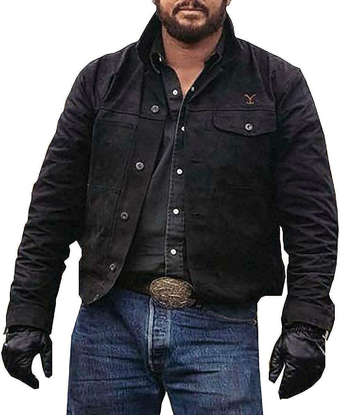 New Men's stone Coule Hausr Rip Wheeler Stylish Cowbooy Black Cotton Jacket