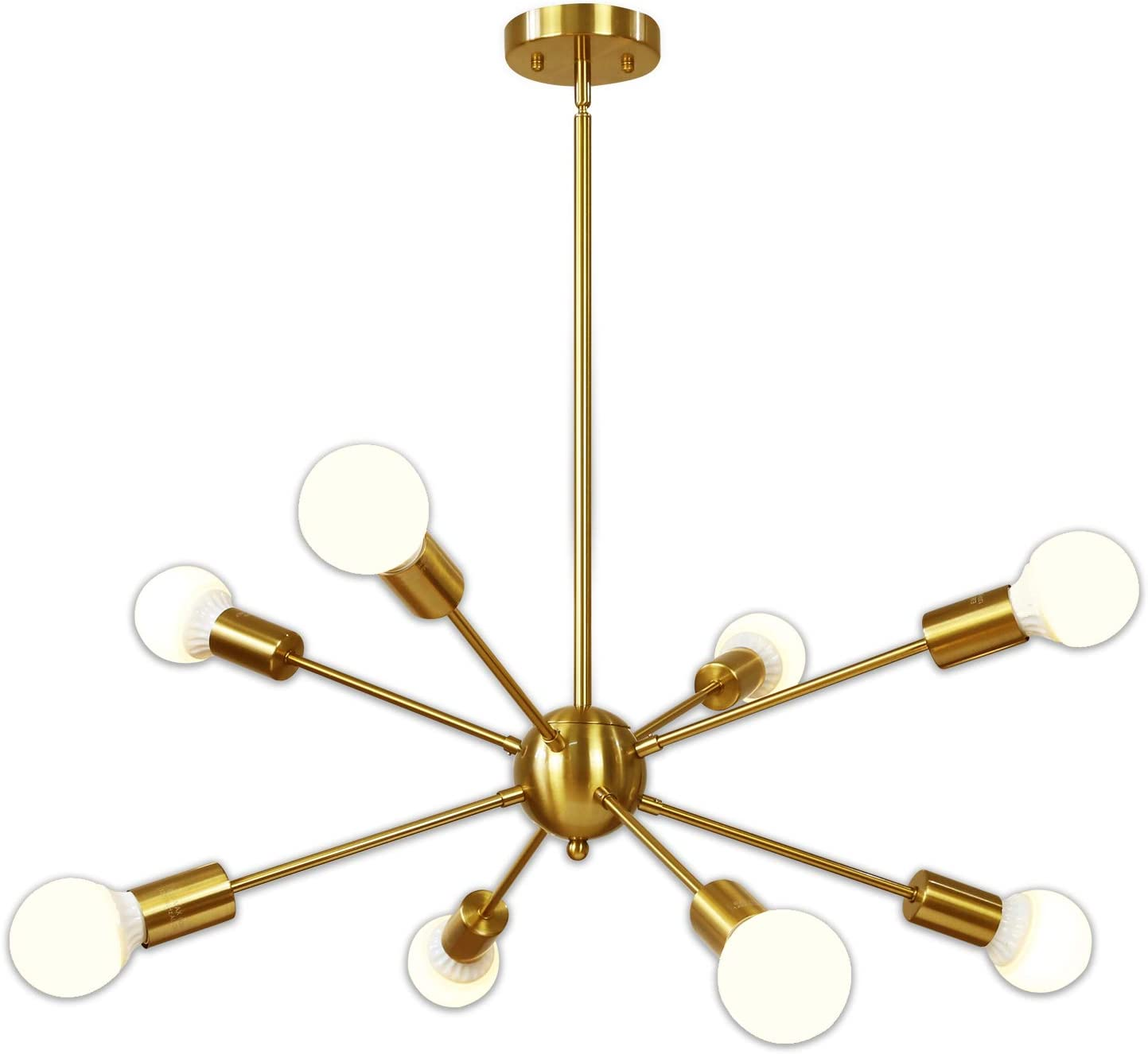 Sputnik Chandelier 8 Light Brushed Brass Pendant Lighting Gold Mid Century Modern Starburst-Style Ceiling Lighting Fixture for Dining Room Kitchen Bedroom Foyer by VINLUZ