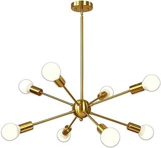 Sputnik Chandelier 8 Light Brushed Brass Pendant Lighting...