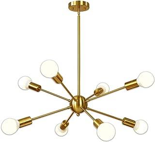 Sputnik Chandelier 8 Light Brushed Brass Pendant Lighting Gold Mid Century Modern Starburst-Style Ceiling Lighting Fixture for Dining Room Kitchen Bedroom Foyer by VINLUZ
