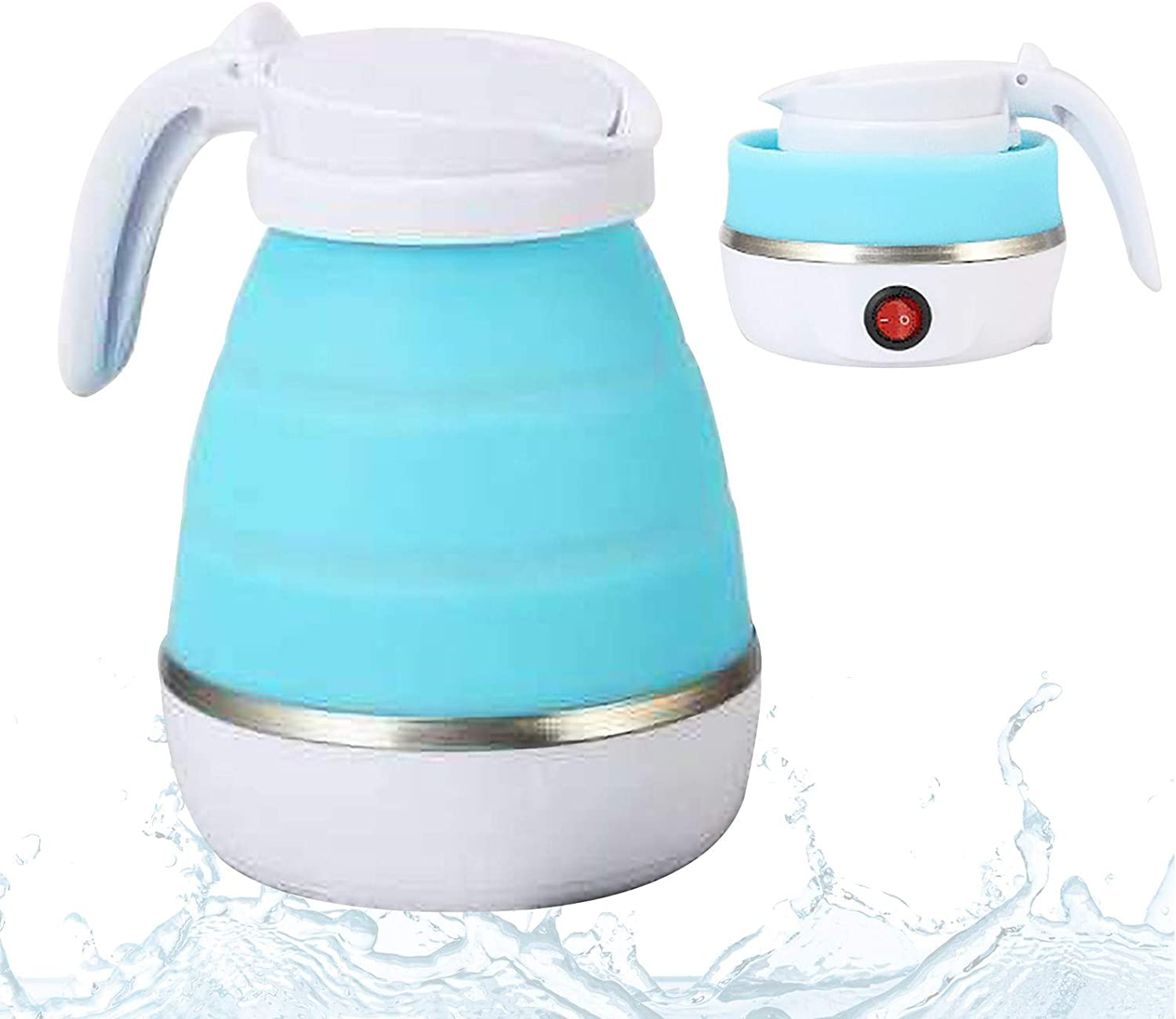 Folding Electric Kettle, Tourism Artifact Portable 600ml Water Heater Kettle, Palm-Sized Food Silicone 110V Electric Kettle for Boiling Water US Plug In for Camping Travel Hiking (Blue, 7.16x6.77'')