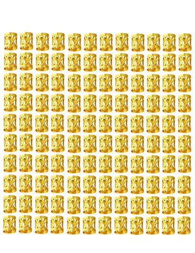 120 piezas de trenza de oro perlas 8 mm de metal ajustable puños decoración del cabello trenzado de joyería del pelo
