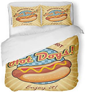 SanChic Duvet Cover Set Red American Hot Dog Sandwich Ketchup and Mustard Decorative Bedding Set with Pillow Case Twin Size