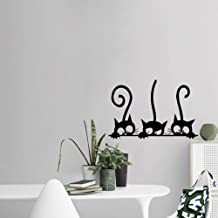 Wall Sticker,Uotmiki Removable Art Three Cats Animal Household Room Window Decor Wall Mural Decal (Black, 30x20cm)