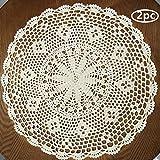 USTIDE Hecho a Mano Crochet Hollow Mesa manteles Individuales, algodón, Beige, Diameter...