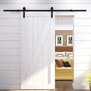Yaheetech 6.6 FT Black Antique Style Steel Sliding Wood Barn Door Hardware Closet Doors Track Kit Set