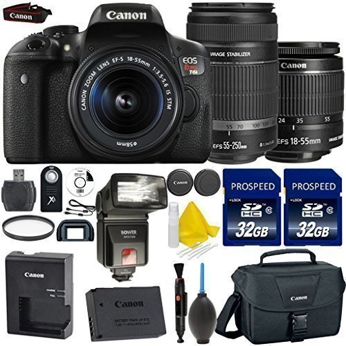 Canon EOS Rebel T6i 24.2MP WiFi Enabled Digital SLR Camera + Canon EF-S 18-55mm is STM + Canon EF-S 55-250mm is STM + 2pc High Speed 32GB Memory Cards + UV Filter + Digital Flash