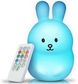 BRUNOKO luz nocturna infantil - lámpara quitamiedos portátil y USB recargable - lámpara infantil LED multicolor con mando - luz bebe Silicona suave y lavable - luz quitamiedos Diseñado en España