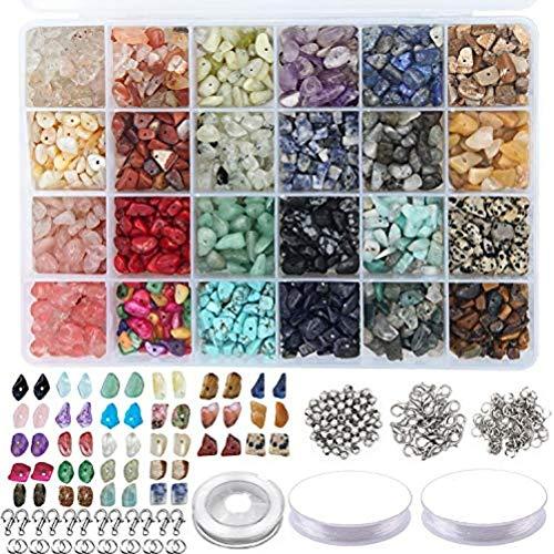 Merkts - Set di perline di cristallo con 24 griglie, con perline in pietra naturale, fai da te, accessori per gioielli, collane, bracciali, orecchini, fai da te