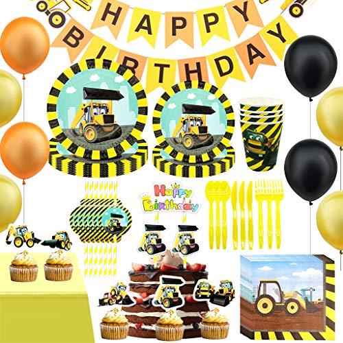 DreamJing Junge Party Set, Baustelle Motiv Bulldozer Bagger - 115 teiliges, Bauarbeiter Set Party Favors mit Teller Becher Servietten Tortendeko Luftballons usw, für 10 Personen