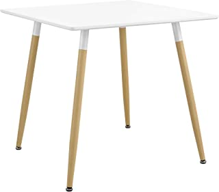 [en.casa] Table à Manger Table de Salle à Manger Table de Cuisine Bureau Carré MDF Laqué et Acier Blanc Mat et Hêtre 80 x ...