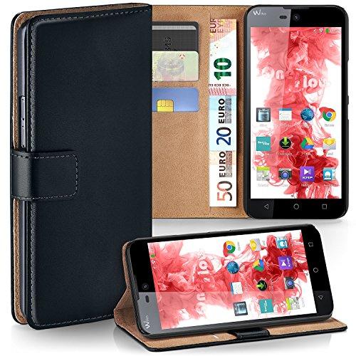 MoEx Premium Book-Hülle Handytasche passend für Wiko Rainbow Lite | Handyhülle mit Kartenfach & Ständer - 360 Grad Schutz Handy Tasche, Schwarz