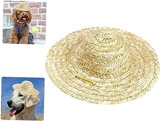 Justerbar Chihuahua Straw Hat, Fashion Dog Sombrero Hat Cap, Mexikanskt Party Hawaii Garden Sun Bucket Cap för valp och ka...