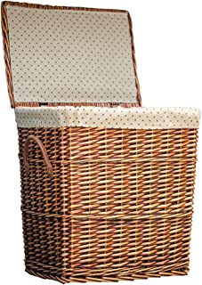 Lined large-capacity rattan basket, covered storage storage box, hand-woven rectangular laundry basket, essential home decoration at home (Color : Brown, Size : L)