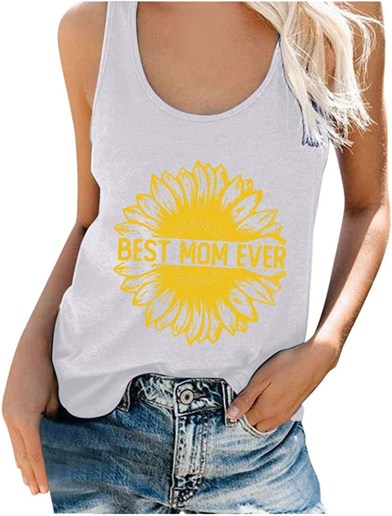 MASZONE Summer Tank Tops for Women, Women's Fashion Cute Sunflower Printed O-Neck Vest Casual Tunic Loose Sleeveless Tee