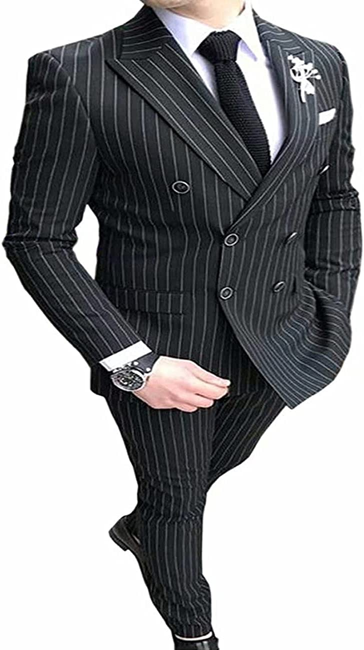 zuer 2 Pcs Men's Pinstripe Suit,Double Breasted Blaze and Pants,Suitable for Weddings and Business Meeting Occasions